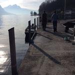 An der Hafenmole Lützelau sind die beiden Netzkäfig auf 8m Wassertiefe versenkt.