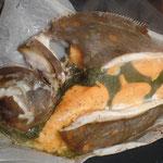 Carrelet aux 3 mousses de légumes blanche, orange et verte