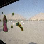 Unser Blick aus dem Fenster auf dem Uni-Parkplatz in Esfahan.