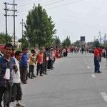 Menschenkette auf der Ring Road