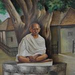 Gandhi unter seinem Baum