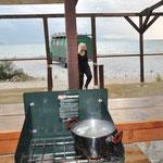 Blick aus der Strandbar-Open-Air-Küche