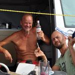 Thomas und Dr. Steffen bei der Fuss-OP (Thomas ist in einen Seeigel getreten...)
