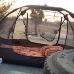 Unser Bett ayf dem Froschdach