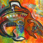 「Motherwhale」- 2014  B4(364x257mm) / 紙・アクリルガッシュ・ポスターカラーマーカー・カラーペン