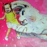 Rette sich wer kann    Acryl auf Malgrund    2015      100 x 70 cm