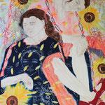 Sonnenblumensymphonie,  120 cm x 100 cm, Mischtechnik auf Nessel, 1.555 €