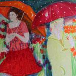 Schirme, 150 cm x 200 cm, Mischtechnik auf Nessel, 2.555 €