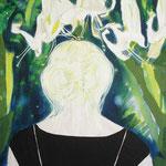 Glockenblumen, 80 cm x 60 cm,  Mischtechnik auf Nessel, 655 €