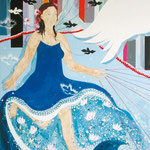Flügelfrau, 200 cm x 150 cm, Mischtechnik auf Nessel, 2.555 €