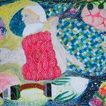 Meerfrau,  Mischtechnik auf Nessel, 110 cm x 100 cm, 1.444 €