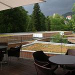 Restaurant-Terrasse mit Blick über die begrünten Therapiebereiche