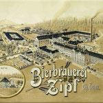Idealisierte historische Ansicht mit ehemaliger Gärtnerei südlich des Braugasthofes und Gehölzstrukturen