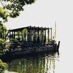Schiff mit Palmenhaus