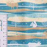 Wintermuster in braun- und türkis-Tönen