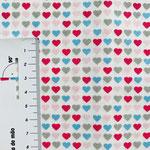 kleine Herzen in rosa, rot, türkis und grau auf weiß