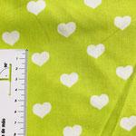 weiße Herzen auf apfelgrün