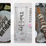 Handmade thirtieth birthday party favors; April 2013