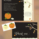 """Design #1: Autumn Baby Shower invitation, 5""""x7"""" with thank-you card, 5""""x3.75"""""""