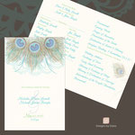 "Design #8: Peacock Feather wedding programs (peacock feather from design 7 or 8 available) 5.5""x8.5"" folded or 8.5""x11"" open"