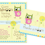 "Design #5: Guess Whoo baby shower invitation (5""x7"") / Thank-you card (5""x4"")"