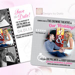 "Design #11: Film Strip or Movie Poster-themed save-the-date magnets, 3.5""x4"""