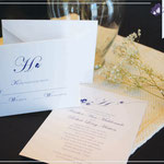 """Design #4: Butterfly Initial wedding invitation, 5""""x7"""" with 5""""x3.75"""" RSVP card"""