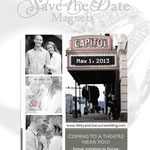 """Design #2: Film Strip Magnetic Save-the-Date, 3.5""""x4"""" with vintage fade"""