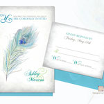 "Design #7: Peacock Feather wedding invitation, 5""x7"" with 5""x3.75"" RSVP card"