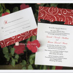 "Design #6: Red Vine wedding invitation, 5""x7"" with 5""x3.75"" RSVP card"