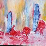 Titel: Red waves, olie op karton, 24 x 18 cm. Augustus 2020. Prijs € 50,-.
