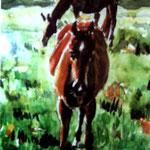 Pferdewiese Aquarell 30x40 1995
