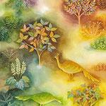 《庭園の鳥》透明水彩・アルビレオ 2006年