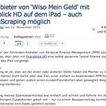 Der Anbieter von 'Wiso Mein Geld' mit finanzblick HD auf dem iPad – auch ScreenScraping möglich