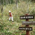 さんさくの路分岐地点の笹狩り(作業中)