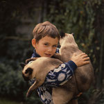Avec les chats siamois Ping et Pong © beppe cecchetti