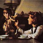 Cécile Aubry, Mehdi et Fennec dans la cuisine en 1965 © Maisons de campagne n°10