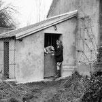 1955, avec ses chiens au chenil
