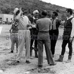 Le réalisateur Henry Hathaway, Tyrone Power, Orson Welles et Jack Hawkins (de face de gauche à droite)