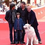 Christian Duguay (réalisateur), Thierry Neuvic (Pierre), Félix Bossuet (Sébastien) et Garfield (Belle)