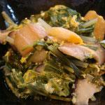 水菜と麩の卵とじ エネルギー;35キロカロリー  タンパク質;2.5㌘  塩分;0.5㌘