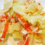 キャベツサラダ エネルギー;85㌔㌍  タンパク質;1.6㌘  塩分;0.4㌘