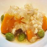 カボチャのそぼろ煮  エネルギー;66㌔㌍ タンパク質;3.5㌘ 塩分;0.7㌘