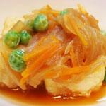 揚げ出し豆腐 エネルギー;122㌔㌍  タンパク質;4.0㌘  塩分;0.6㌘
