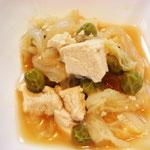 白菜と豆腐のあんかけ エネルギー;56㌔㌍  タンパク質;4.2㌘  塩分;0.5㌘