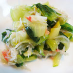 チンゲン菜のカニ酢 エネルギー;151㌔㌍  タンパク質;0.9㌘  塩分;0.7㌘