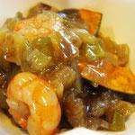揚げカボチャの野菜あんかけエネルギー;75㌔㌍ タンパク質;3.6㌘  塩分;0.8㌘
