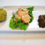 前菜三種  エネルギー;150㌔㌍ タンパク質;4.0㌘ 塩分;0.6㌘