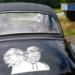 Les organisateurs du Creusekistan Classic, André Genin et Jean-Paul Renvoizé, croqués par le dessinateur Michel Janvier.