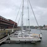 """Jetzt liegen wir in der """"Newport Marina"""" im alten Stadthafen von Lübeck"""